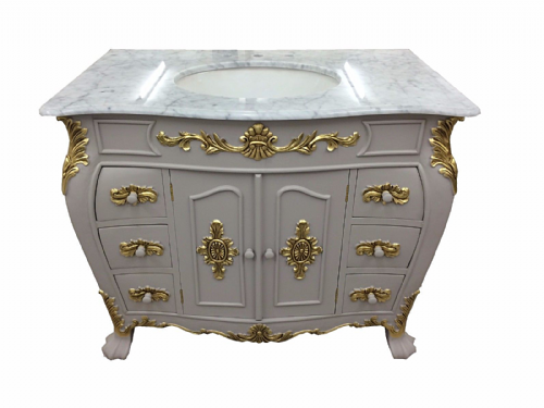 Bespoke Louis Small Sink Vanity Unit with Solid Marble Top